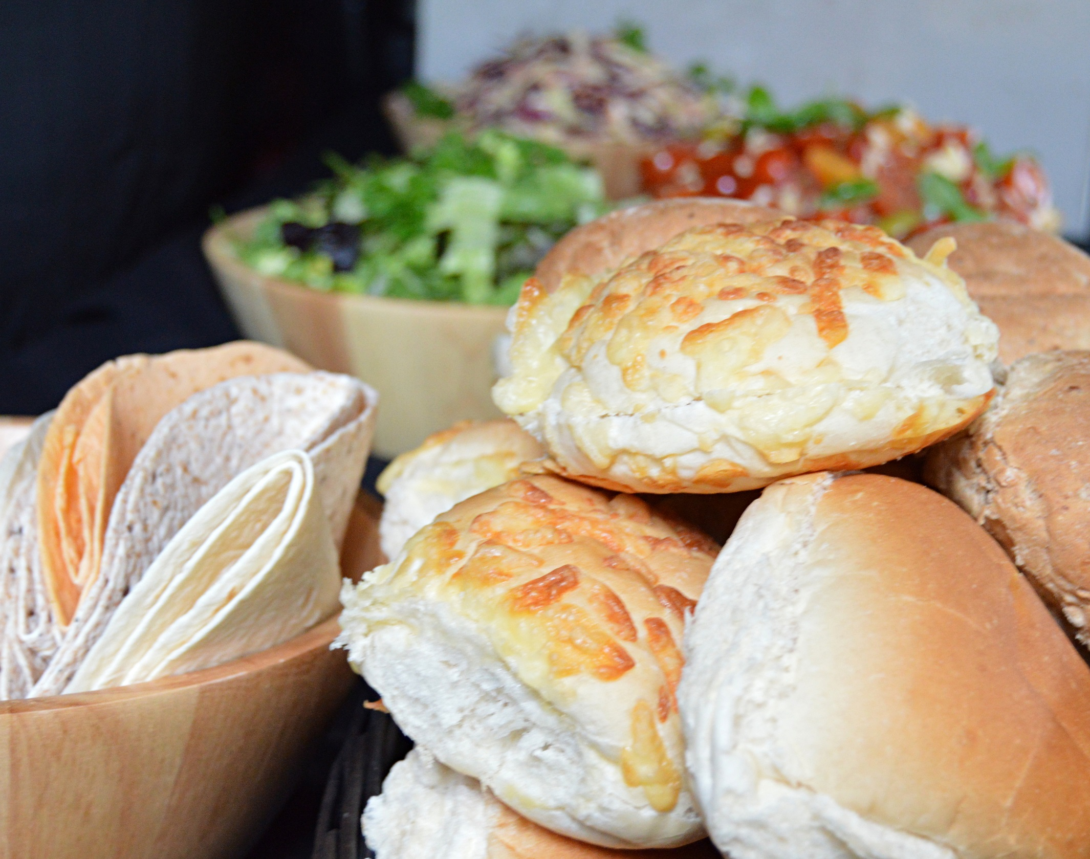 Fresh Bread Rolls, Wraps And Salads