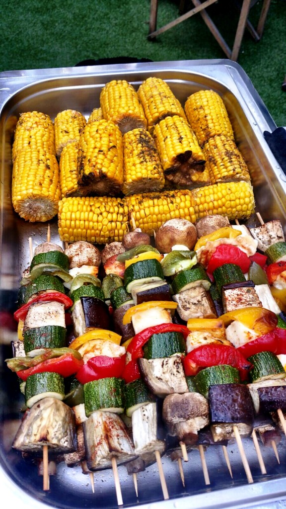 Corn On The Cob And Vegetable Skewers