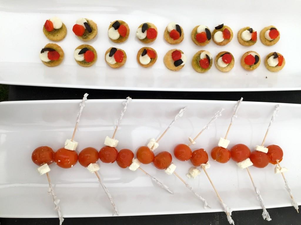 Smoked Salmon Blinis & Feta and Roasted Tomato Mini-Kebabs